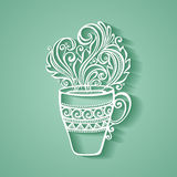 Decorative Cup of Coffee with Steam Royalty Free Stock Photography