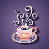 Decorative Cup of Coffee with Steam Royalty Free Stock Image