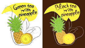 Decorative cup of tea with hand drawn pineapple. Vector illustration royalty free illustration