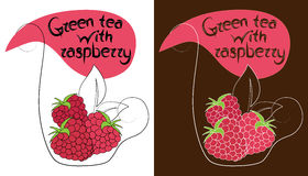 Decorative cup of tea with hand drawn raspberries. Vector illustration vector illustration
