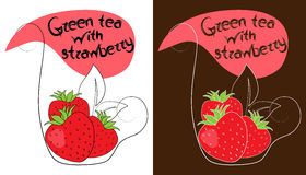 Decorative cup of tea with hand drawn strawberries. Vector illustration royalty free illustration
