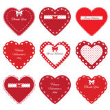 Decorative cut out hearts set  on white. Stock Photography