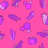 Decorative cute cacti in a purple-pink tones on a colored background. stock illustration