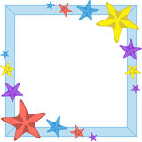Decorative cyan frame with cartoon starfishes, vector Royalty Free Stock Photography