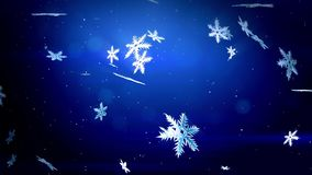 Decorative 3d snowflakes float in air in slow motion and shine on a blue background. Use as animated Christmas, New Year