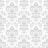 Decorative damask pattern. Vintage ornament, baroque flowers and silver venetian ornate floral ornaments seamless vector royalty free illustration