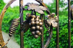 Decorative decoration of a metal fence with forged elements. Bunch of grapes royalty free stock photos