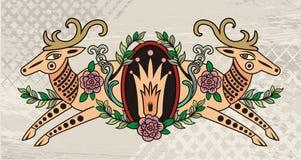 Decorative deer emblem Stock Image