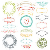 Decorative design elements. Ribbons, heart and flowers Stock Photos