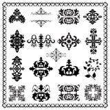 Decorative design elements (black). Decorative Floral Design Elements, editable vector illustration Stock Image