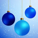 Decorative Design Elements Christmas Balls Isolated on Blue Snow Royalty Free Stock Images