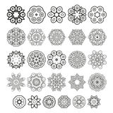 Decorative design elements. Circle ornament. Vector set. Decorative design elements. Circle ornament. Set of  circular patterns, florets, snowflakes, asterisks Royalty Free Stock Photos