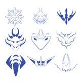 Decorative design elements Vector set. Vector of decorative elements monster face ,dragon , icon art stock illustration