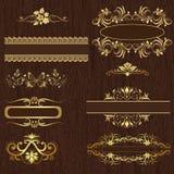 Decorative design elements. Decorative design elements on wood texture Stock Photography