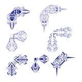 Decorative design Vector corner. Vector of decorative elements corner fish and line stock illustration