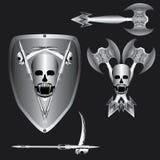 Decorative design Vector skull devil logo. Double axe scythe sickle hook royalty free illustration