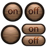 Decorative design Vector wooden buttons. On and off Royalty Free Illustration