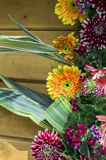 Decorative design on wood with flowers Stock Image
