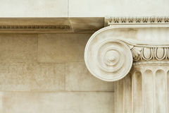 Decorative detail of an ancient Ionic column. Close up stock images