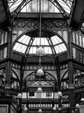 Decorative details of victorian shopping arcades in leeds. Decorative details of old shopping arcades in leeds with wrought iron and glass lamps Royalty Free Stock Photos