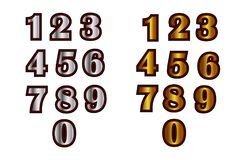 Decorative didgital sticker set 1. Set of decorative numbers of silver and gold color vector illustration Stock Images