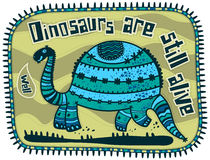 Decorative dinosaur. On a light green background. Text on top of a dinosaur Dinosaurs still alive. Dino says, well Stock Image
