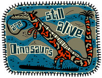 Decorative dinosaur with long tongue. And orange spots on the body, blue background. Text Dinosaurs are still alive Stock Image