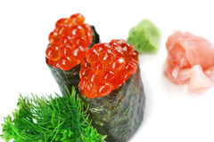 Decorative dish sushi caviar, parsley and salmon meat closeup. Stock Images