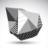 Decorative distorted eps8 element with parallel black lines. Mul Royalty Free Stock Images