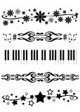 Decorative dividers. Collection of five black decorative vector music, flowers and stars text or paragraph dividers borders frames breaks on white background stock illustration