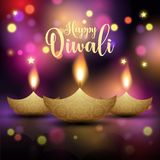 Decorative Diwali lamp background. Decorative Diwali background with oil lamps royalty free illustration