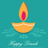 Decorative Diwali Lamps, happy diwali greeting card flat design Stock Photo