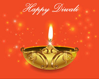 Decorative Diwali Lamps, happy diwali greeting card Royalty Free Stock Photo