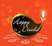Decorative Diwali Lamps, happy diwali greeting card flat design Royalty Free Stock Image