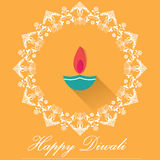 Decorative Diwali Lamps, happy diwali greeting card flat design Stock Photography