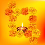 Decorative diya with flowers Stock Images