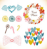 Decorative doodle collection with many cute elements. Hearts, flowers, angel wings, lollipops, sugarplum. S. Vector holiday set stock illustration