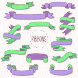 Decorative colorful ribbons vector set. Decorative doodle line colorful ribbons vector set stock illustration