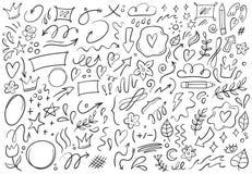 Decorative doodles. Hand drawn pointing arrow, outline shapes and doodle frames vector illustration set