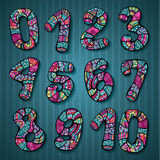 Decorative doodles numbers Royalty Free Stock Photography