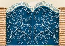 Decorative Door inside brick columns Royalty Free Stock Images