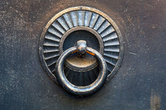 Decorative door knocker on metal gate Stock Photography