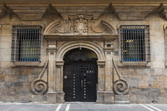 Decorative doors in Pamplona, Spain Royalty Free Stock Photography