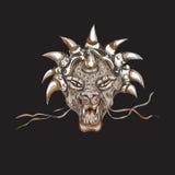 Decorative dragon head with horns print stock illustration