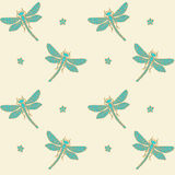 Decorative dragonflies seamless background Stock Image