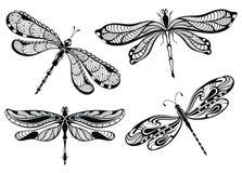 Decorative dragonflies set. Black and white dragonflies set tattoo design Royalty Free Stock Photos