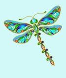Decorative dragonfly. Made of precious stones royalty free illustration