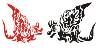 Decorative dragons with a wing in tribal style. Vector red and black flame dragons ready for  tattoo, stickers and T-shirts designs Stock Image