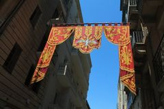 Decorative Drapes over in the streets of Valetta, Malta. Decorative drapes, flags, in Valetta the capital of Malta Stock Image