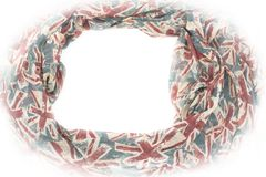 Decorative draping frame of the textile. Women`s scarf red figure the British flag Stock Photo